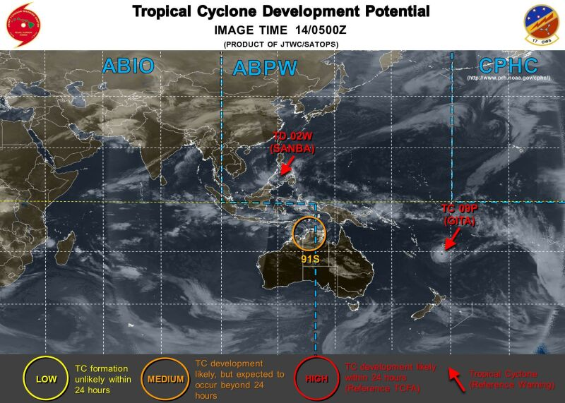 Lokalizacja cyklonu i burzy tropikalnej (Centrum Ostrzegawcze przed Tajfunami, JTWC)