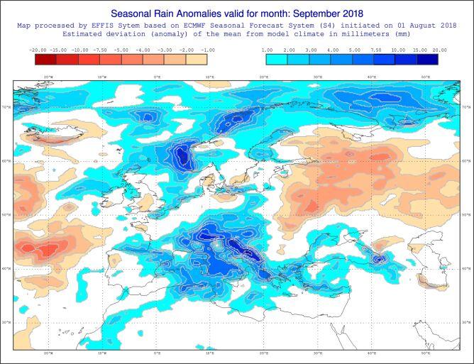 Prognoza odchyleń opadów od średniej wieloletniej na wrzesień 2018 (EFFIS)