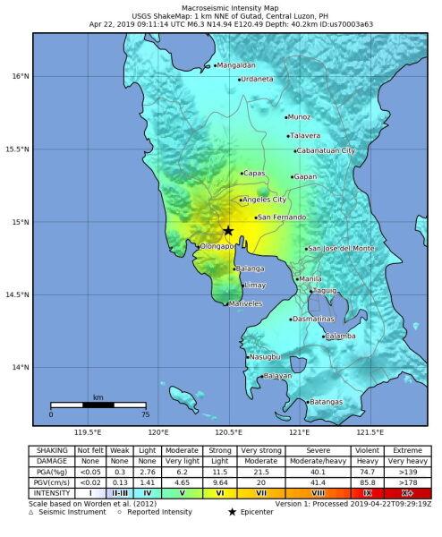 Trzęsienie ziemi na Filipinach (PAP/EPA/USGS / HANDOUT)