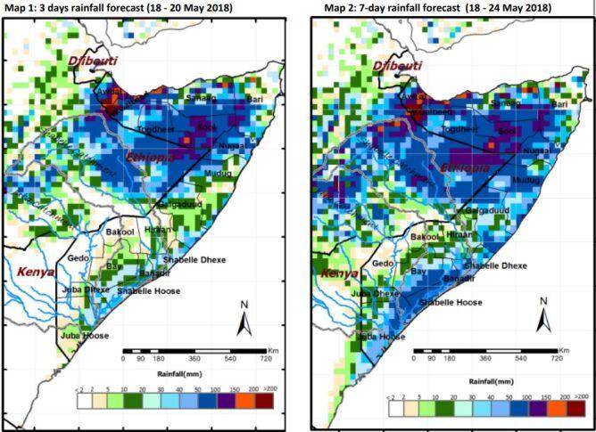 Nad Somalią mogą wystąpić kolejne ulewne opady deszczu (SWALIM)